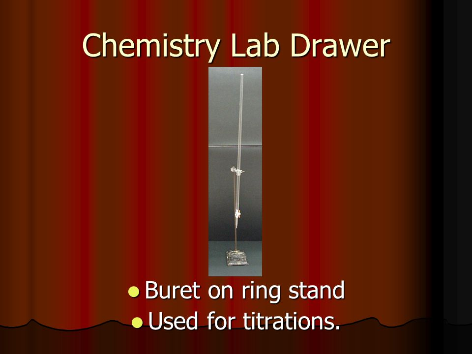 Chemistry Lab Drawer Buret on ring stand Used for titrations.