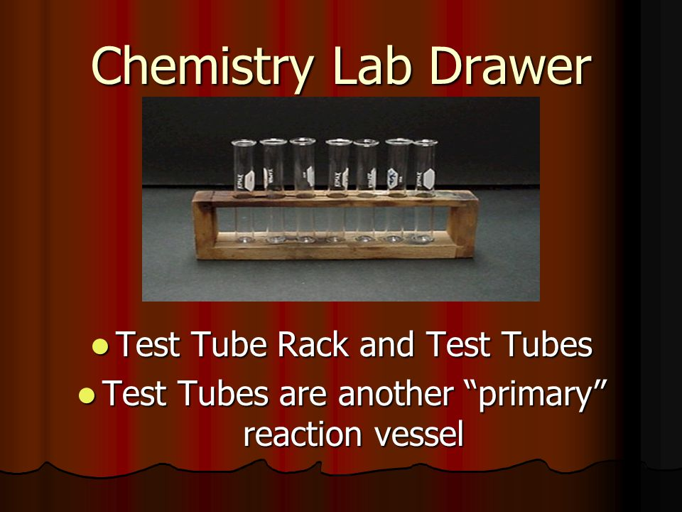 Chemistry Lab Drawer Test Tube Rack and Test Tubes