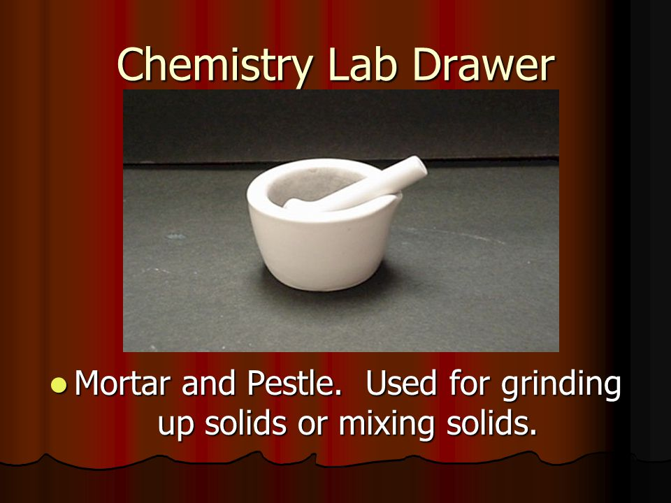 Mortar and Pestle. Used for grinding up solids or mixing solids.