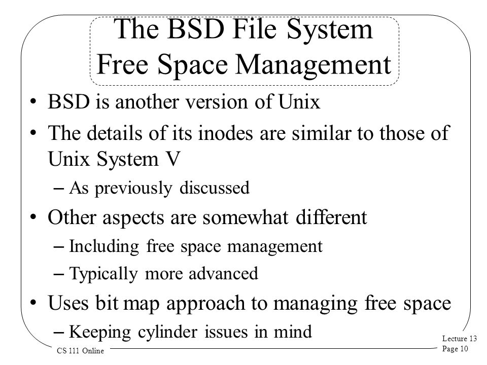 The BSD File System Free Space Management