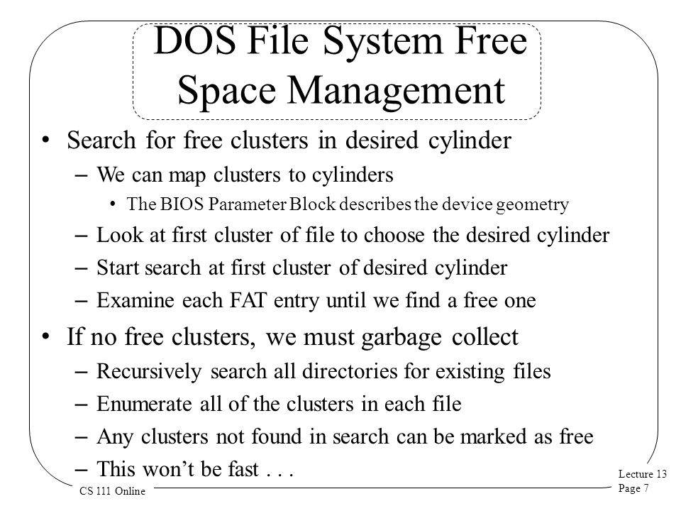 DOS File System Free Space Management