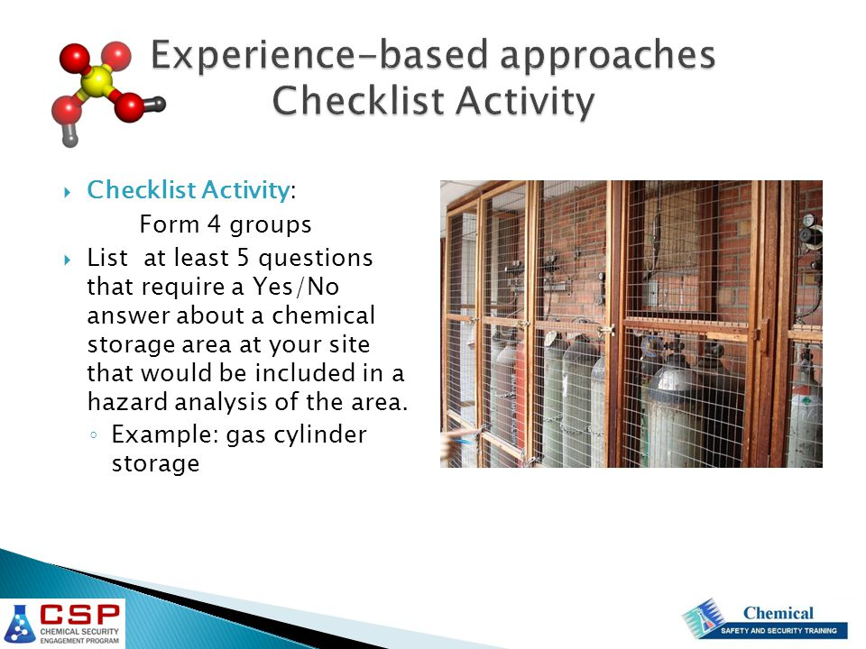 Experience-based approaches Checklist Activity