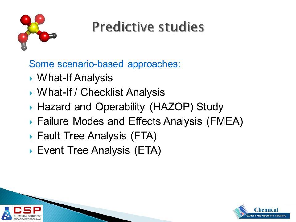 Predictive studies What-If Analysis What-If / Checklist Analysis