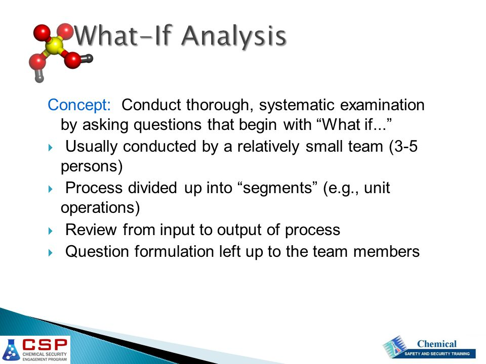 What-If Analysis Concept: Conduct thorough, systematic examination by asking questions that begin with What if...