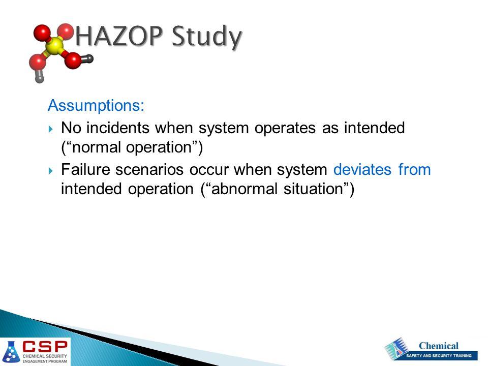HAZOP Study Assumptions: