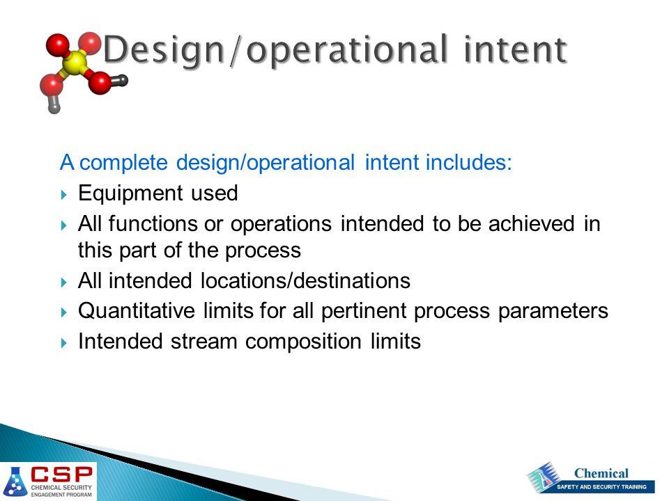 Design/operational intent
