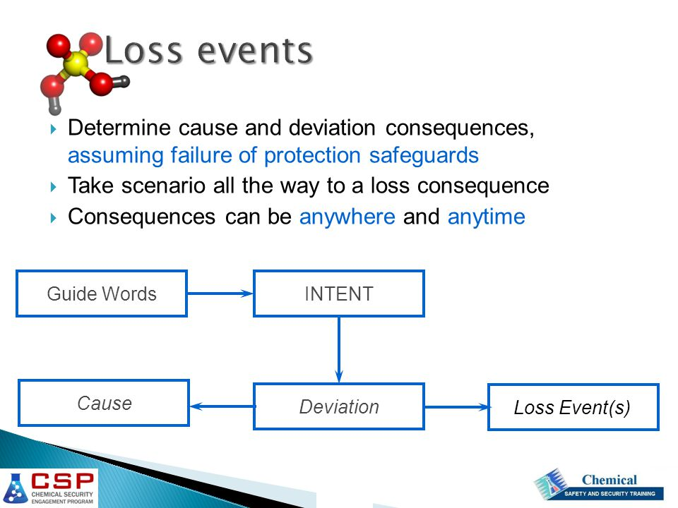 Loss events Determine cause and deviation consequences, assuming failure of protection safeguards.