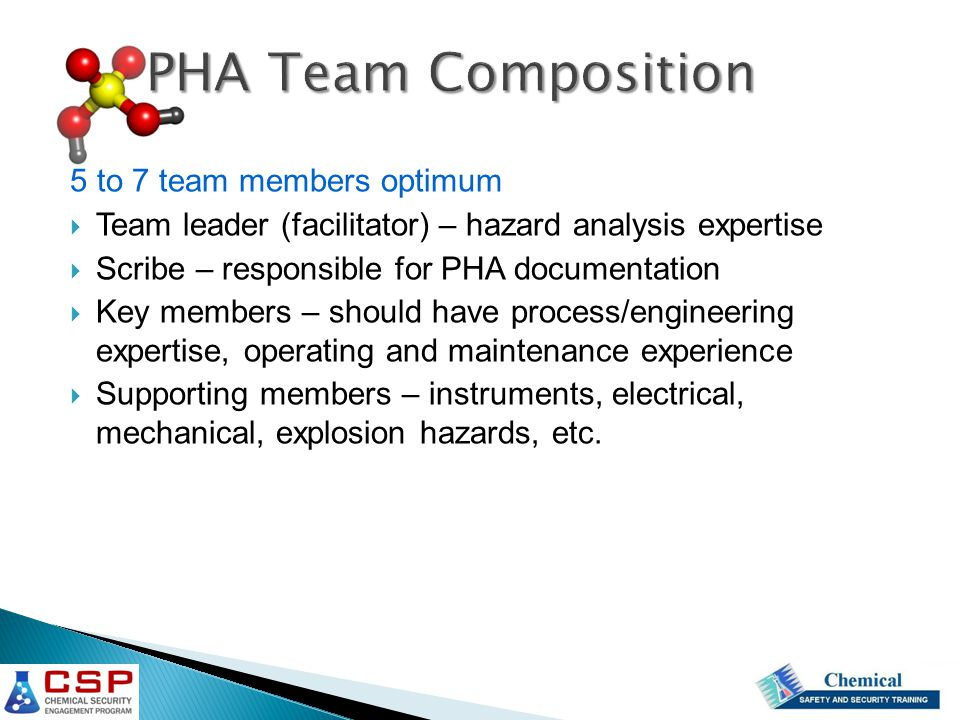PHA Team Composition 5 to 7 team members optimum