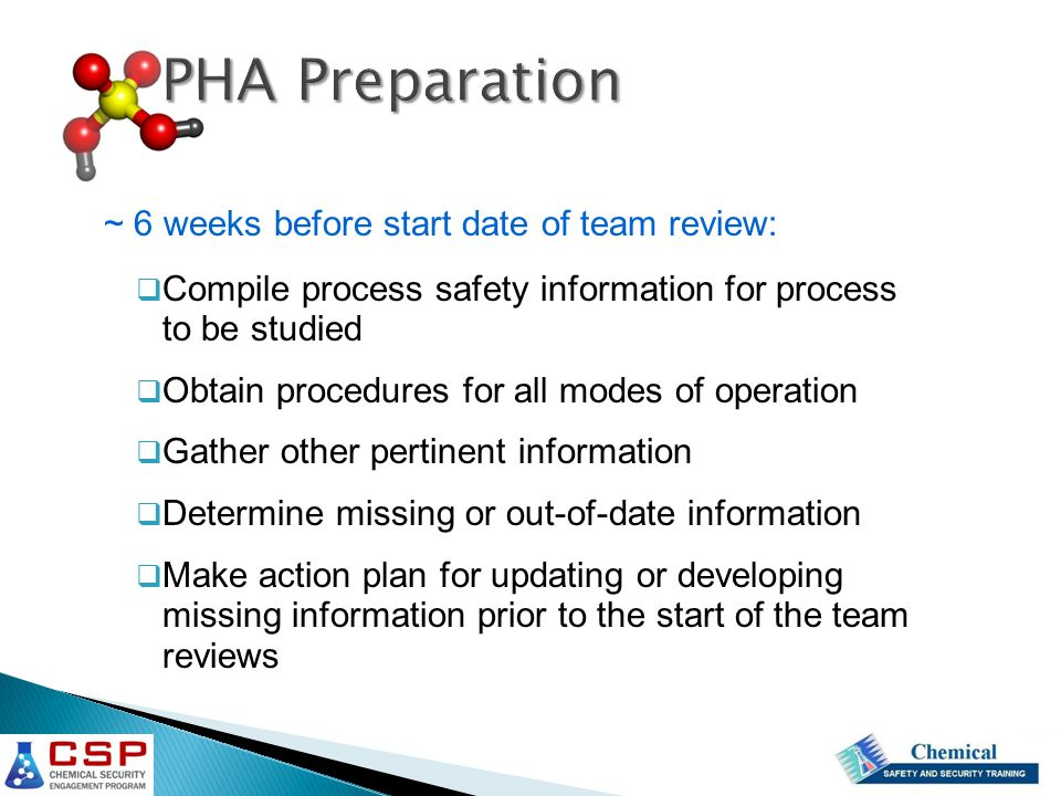 PHA Preparation ~ 6 weeks before start date of team review: