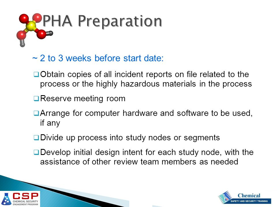 PHA Preparation ~ 2 to 3 weeks before start date: