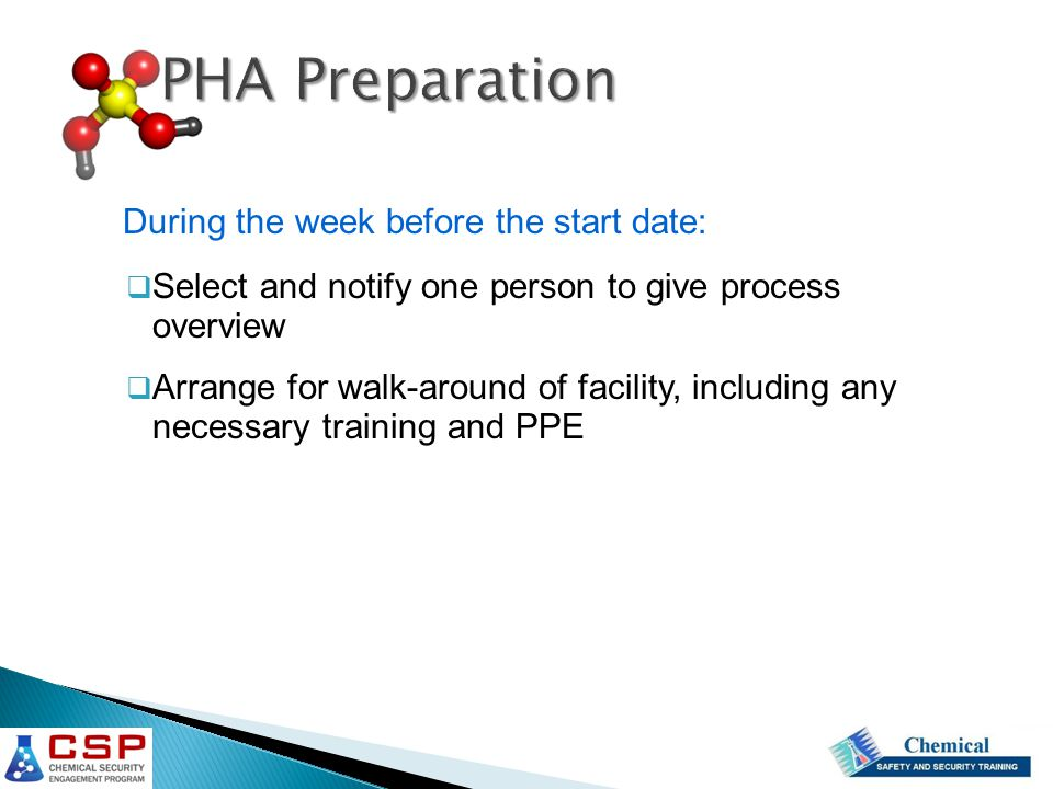 PHA Preparation During the week before the start date: