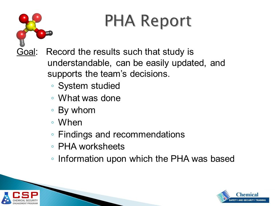 PHA Report Goal: Record the results such that study is understandable, can be easily updated, and supports the team's decisions.
