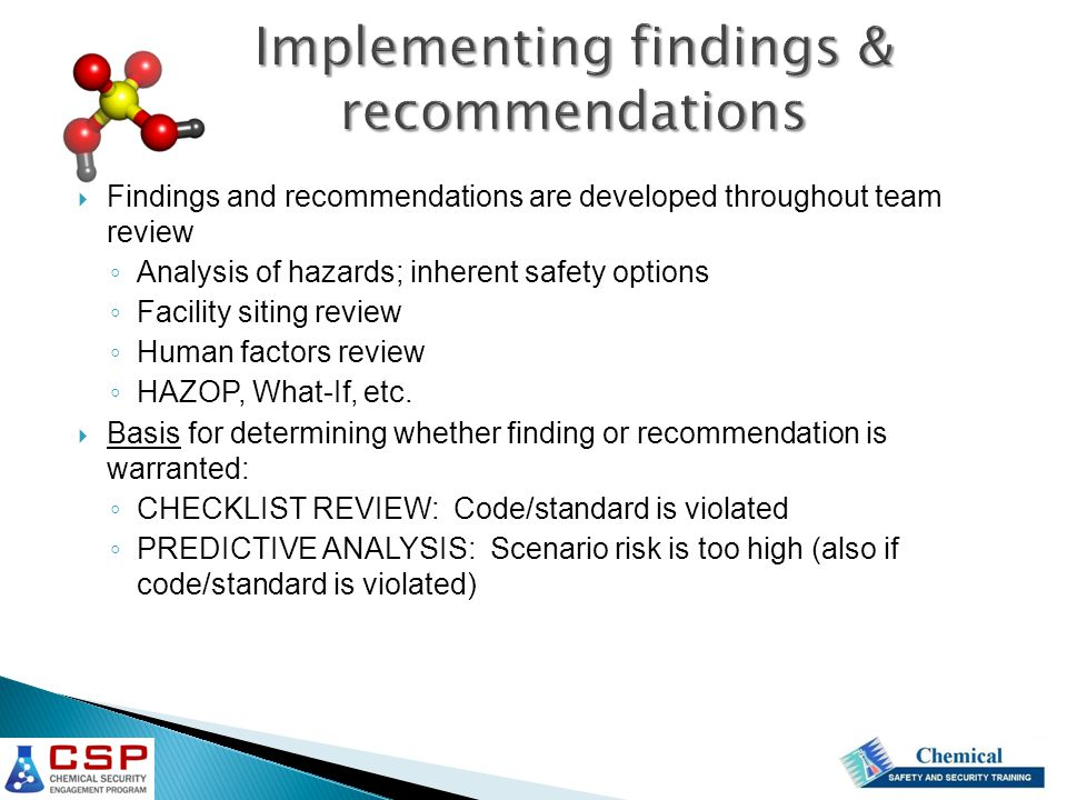 Implementing findings & recommendations