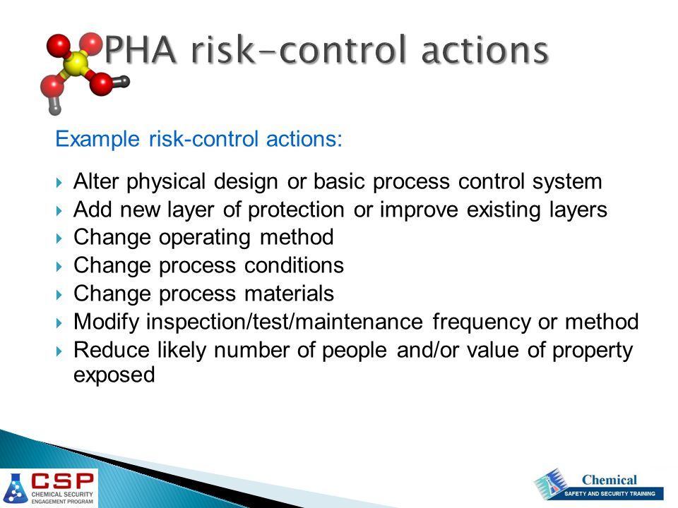 PHA risk-control actions