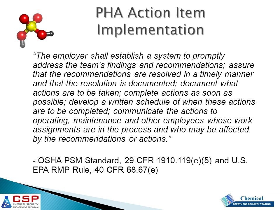 PHA Action Item Implementation