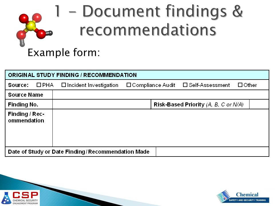1 - Document findings & recommendations