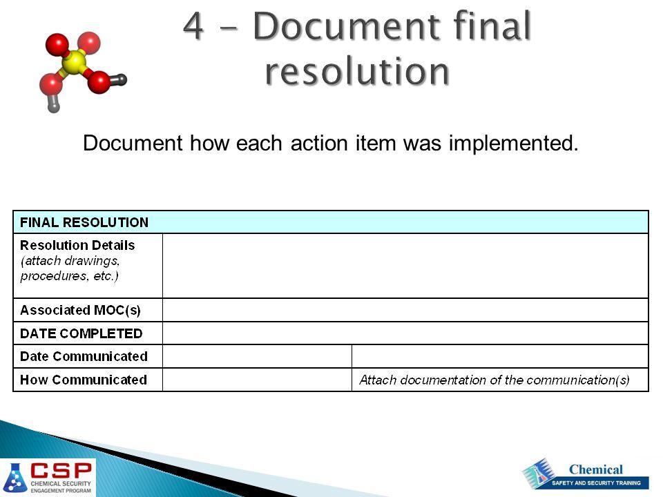 4 - Document final resolution