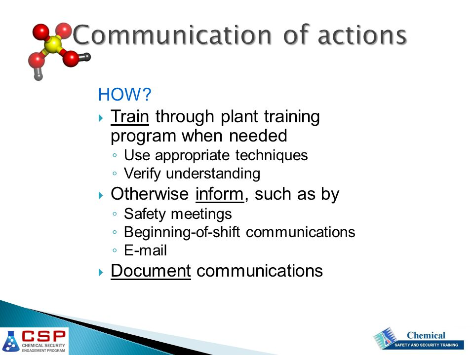 Communication of actions