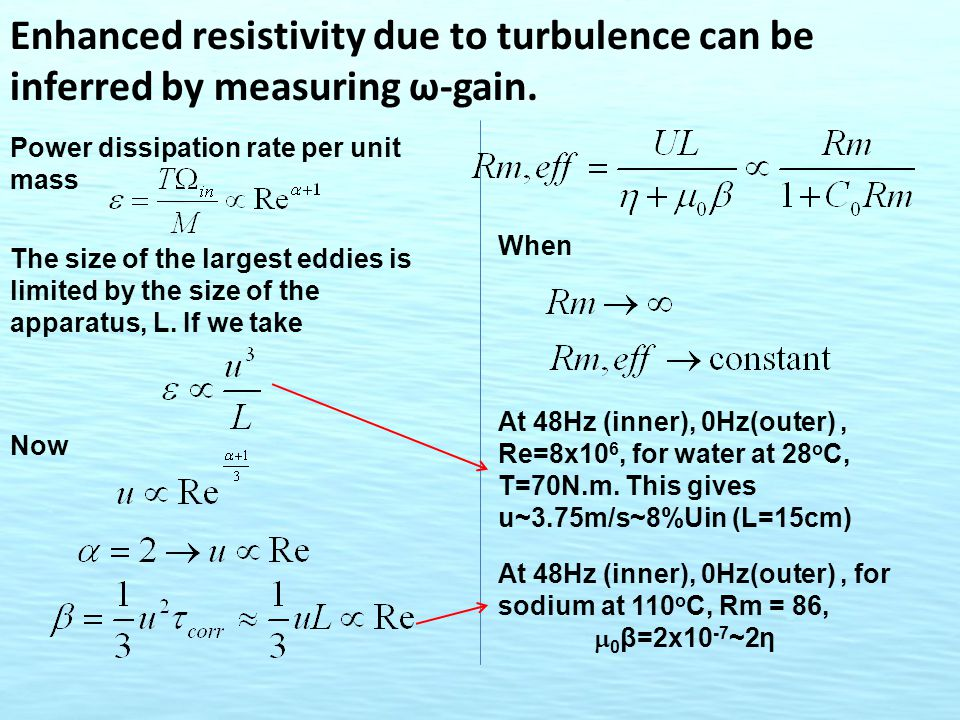 Enhanced resistivity due to turbulence can be inferred by measuring ω-gain.