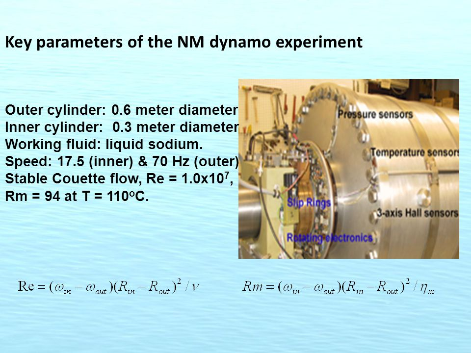 Key parameters of the NM dynamo experiment