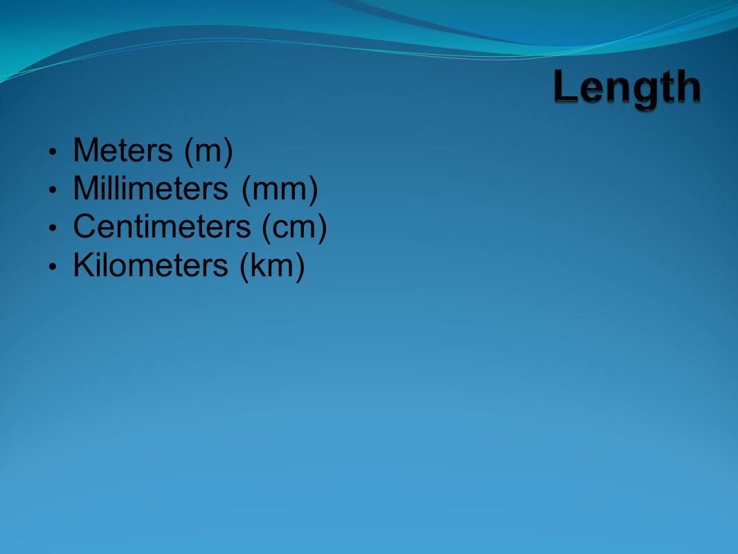 Meters (m) Millimeters (mm) Centimeters (cm) Kilometers (km)