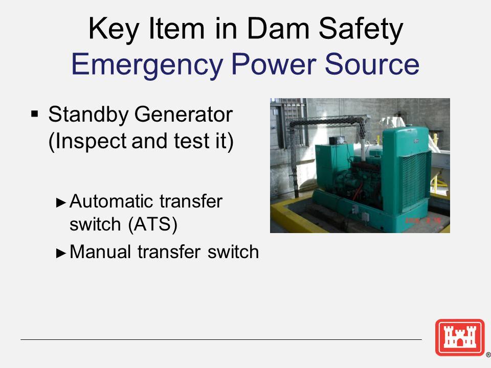 Key Item in Dam Safety Emergency Power Source
