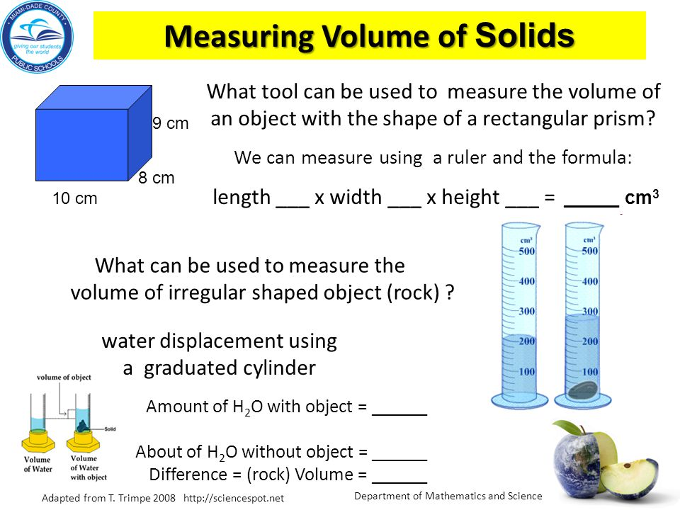 Measuring Volume of Solids