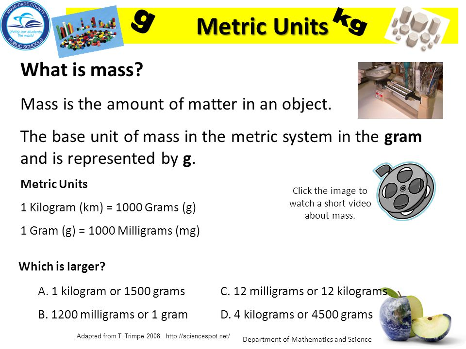 Metric Units g kg What is mass