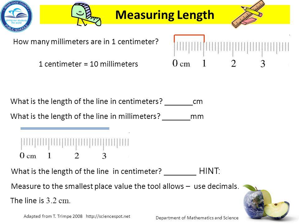 1 centimeter = 10 millimeters