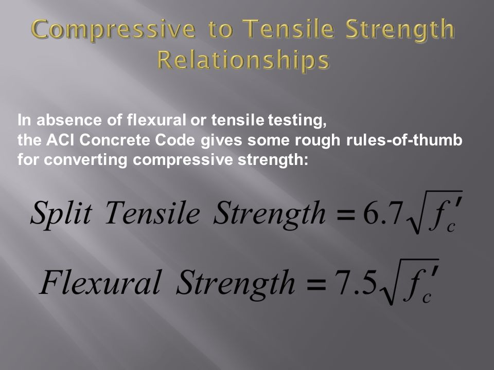 Compressive to Tensile Strength Relationships