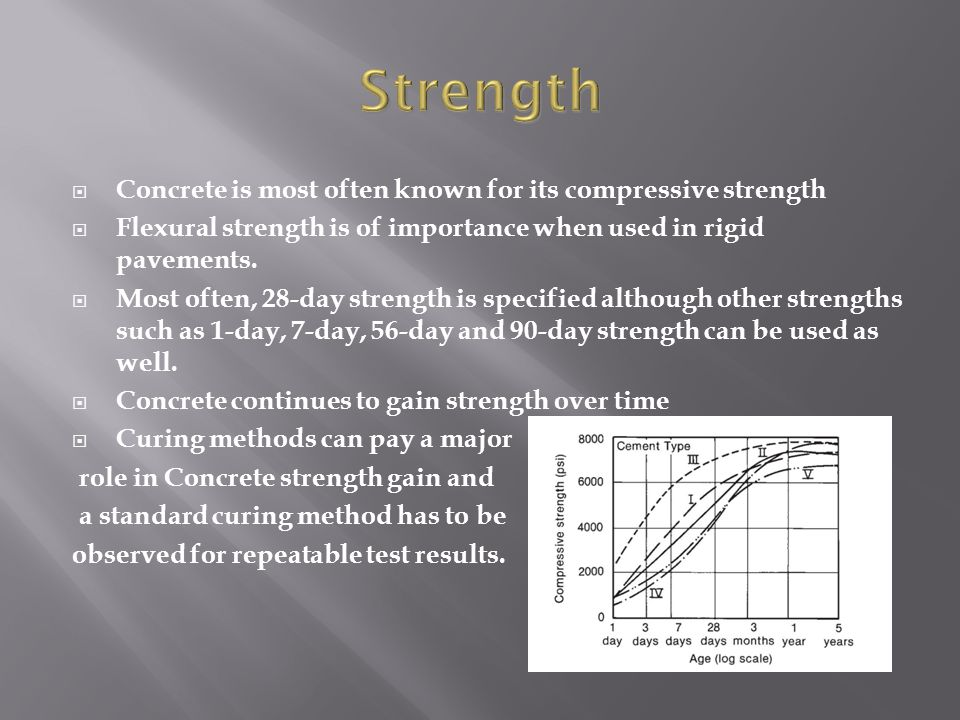 Strength Concrete is most often known for its compressive strength