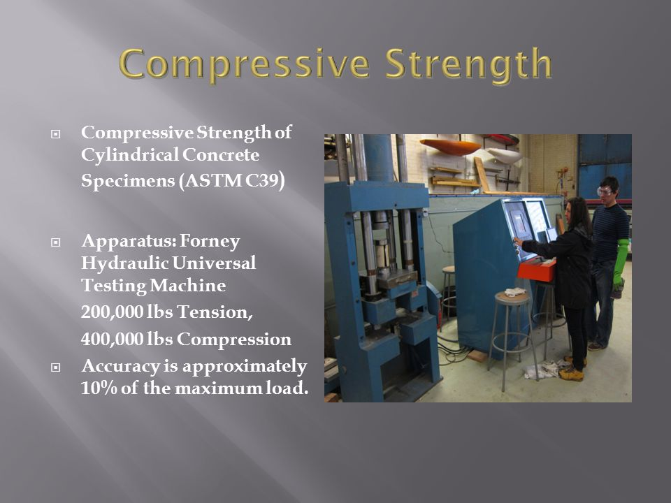 Compressive Strength Compressive Strength of Cylindrical Concrete Specimens (ASTM C39) Apparatus: Forney Hydraulic Universal Testing Machine.