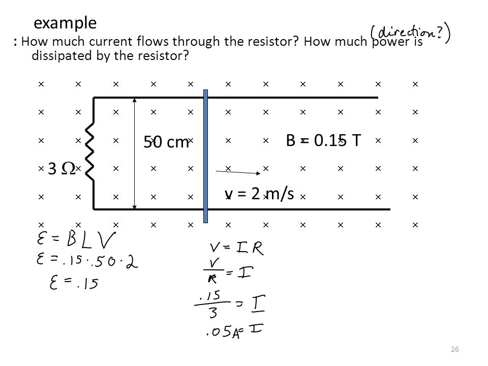 Physics C 4/12/2017. example. : How much current flows through the resistor How much power is dissipated by the resistor