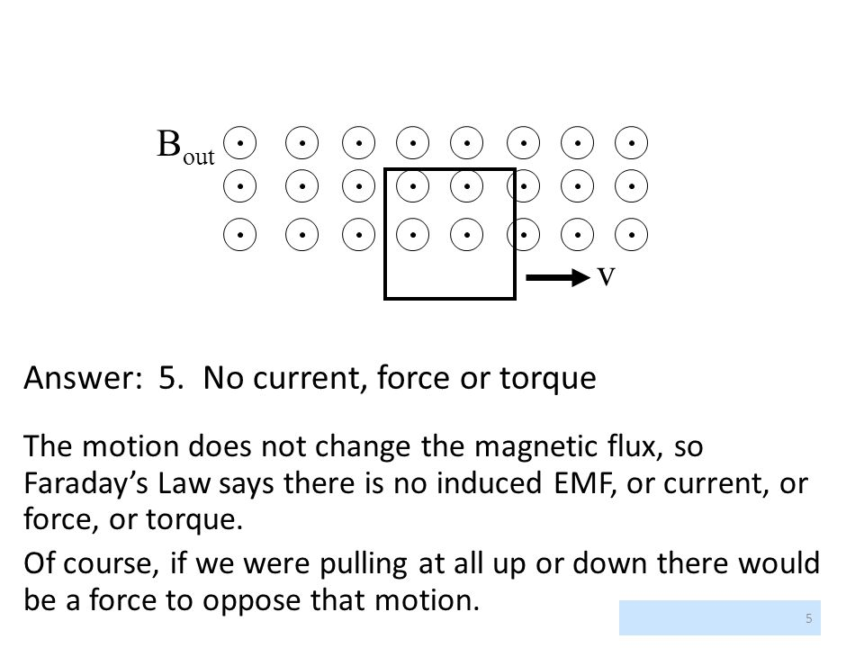 Bout v Answer: 5. No current, force or torque
