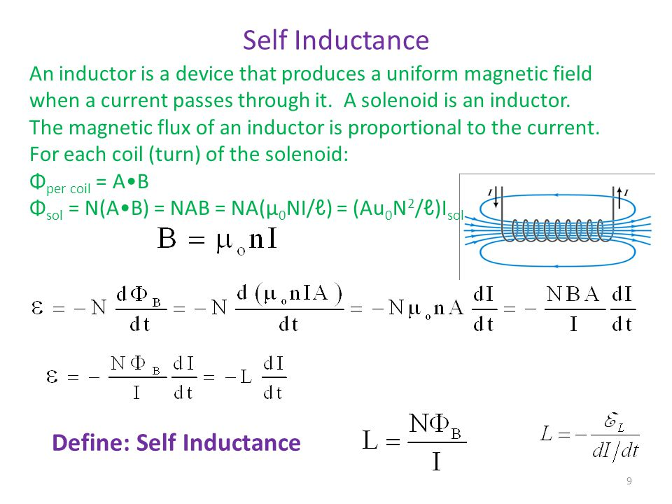 Self Inductance Define: Self Inductance