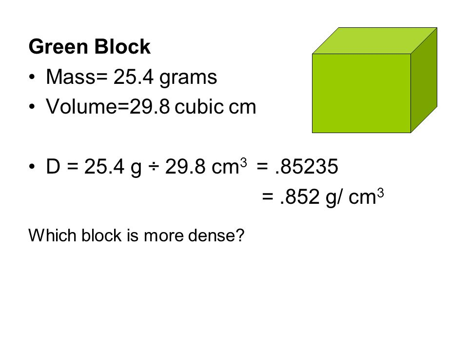 Which block is more dense