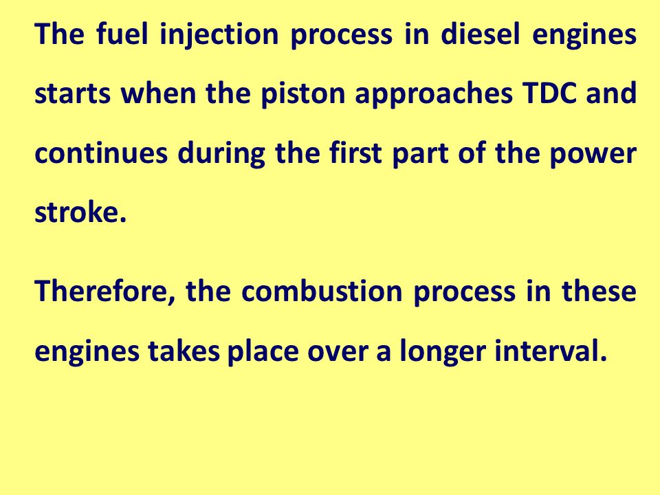The fuel injection process in diesel engines starts when the piston approaches TDC and continues during the first part of the power stroke.