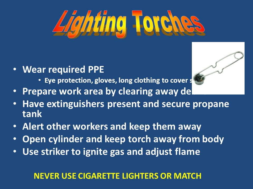 Lighting Torches Wear required PPE