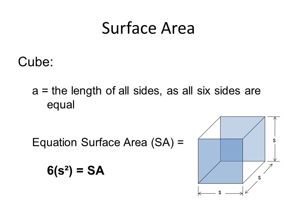 Surface Area Cube: a = the length of all sides, as all six sides are equal. Equation Surface Area (SA) = 6(s²) = SA.