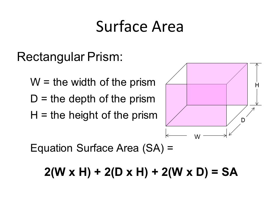 Surface Area Rectangular Prism: W = the width of the prism