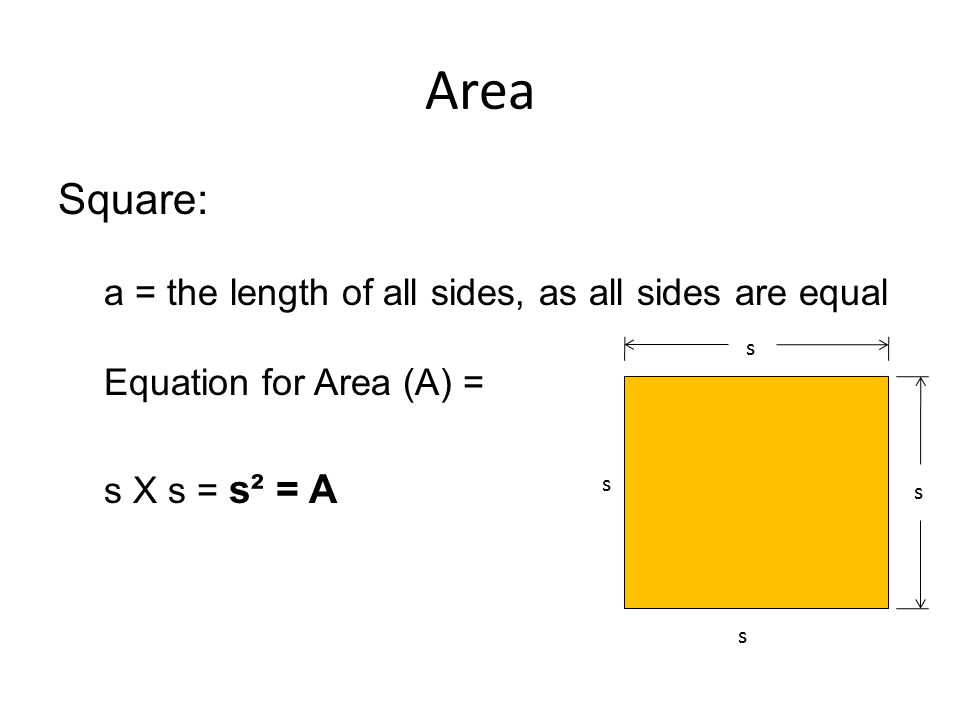 Area Square: a = the length of all sides, as all sides are equal