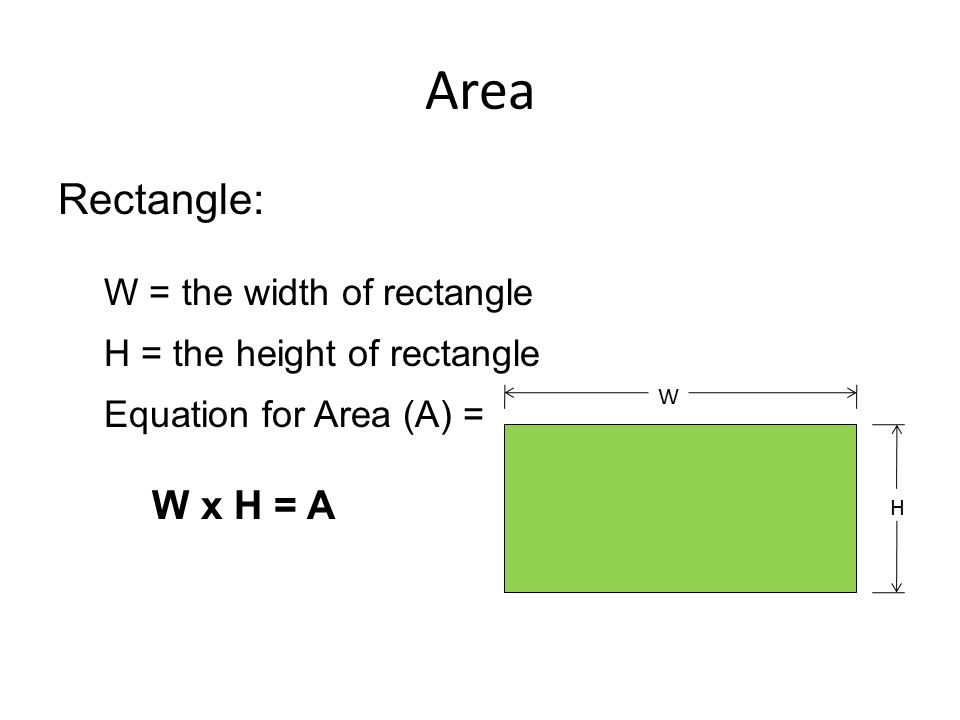 Area Rectangle: W = the width of rectangle H = the height of rectangle