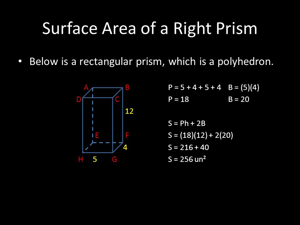 Surface Area of a Right Prism