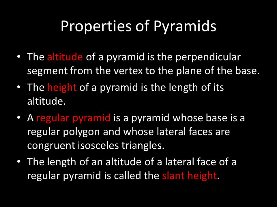 Properties of Pyramids