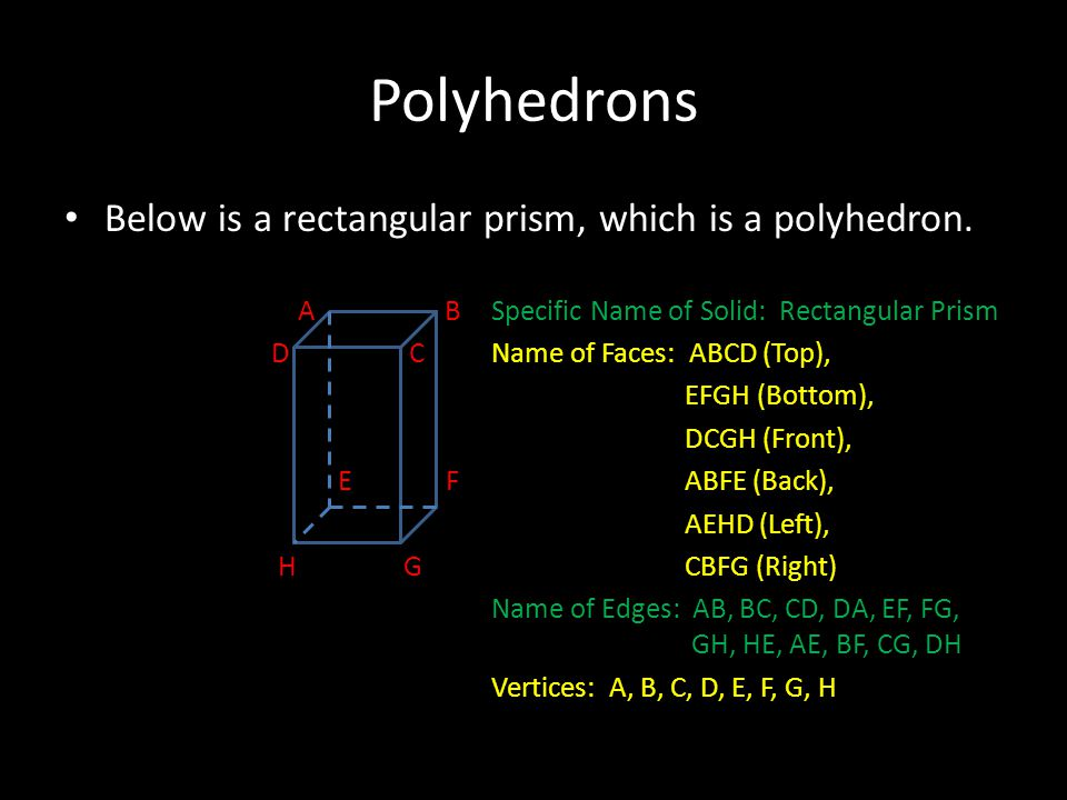 Polyhedrons Below is a rectangular prism, which is a polyhedron.