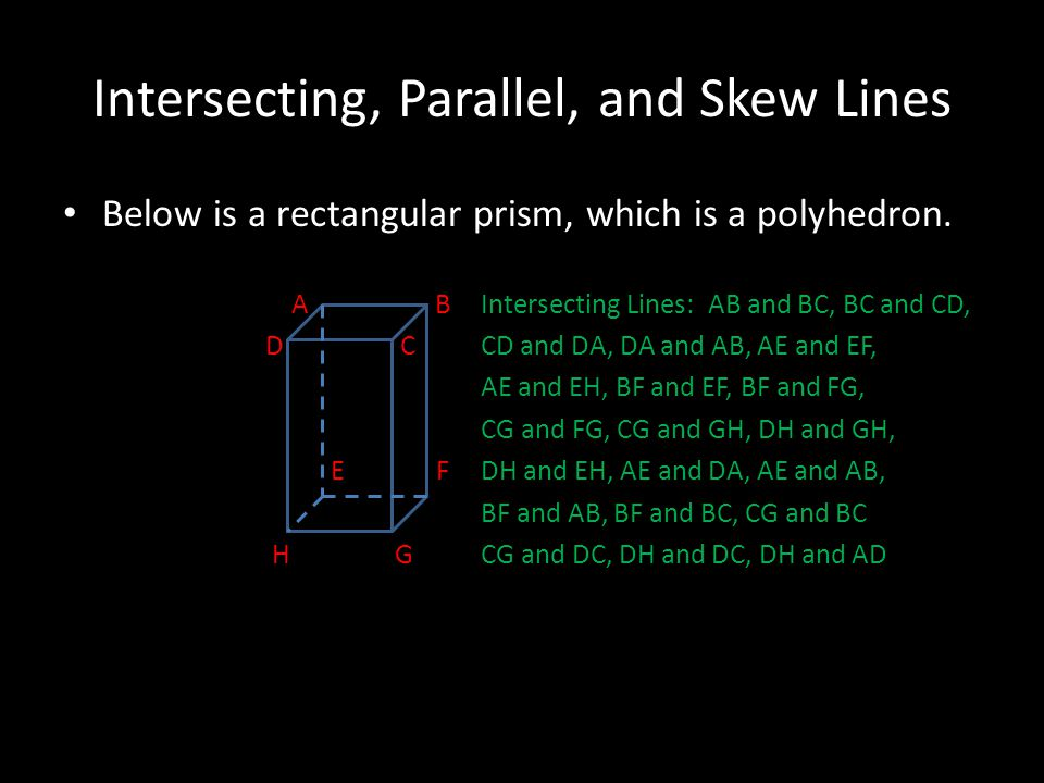 Intersecting, Parallel, and Skew Lines