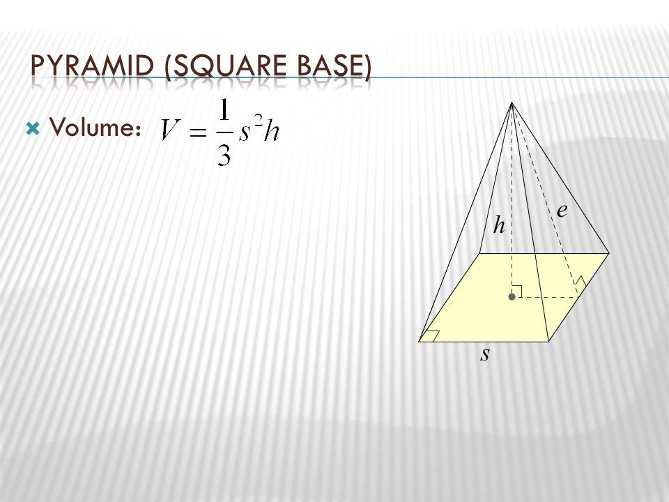 Pyramid (Square Base) Volume: