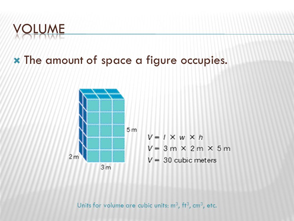 Units for volume are cubic units: m3, ft3, cm3, etc.