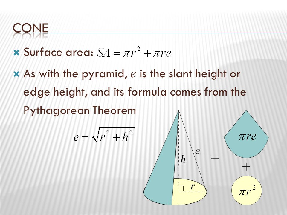 Cone Surface area: As with the pyramid, e is the slant height or edge height, and its formula comes from the Pythagorean Theorem.