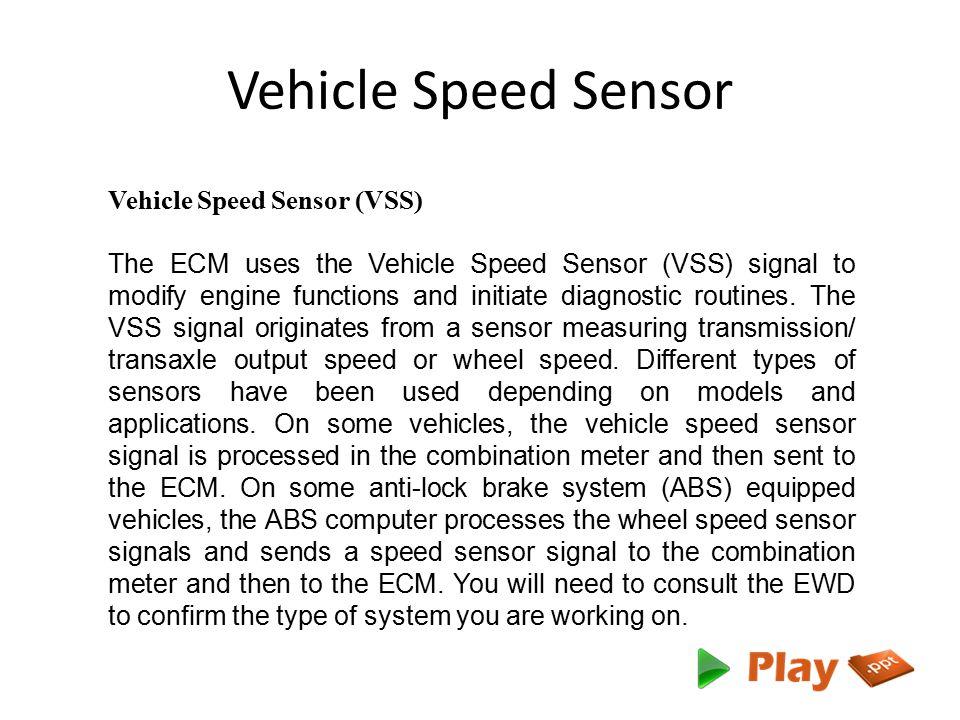 Vehicle Speed Sensor Vehicle Speed Sensor (VSS)